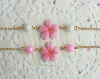 Cherry in polymer clay flower bracelet
