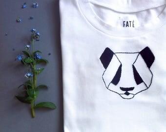 Women's cotton T-shirt with handmade panda