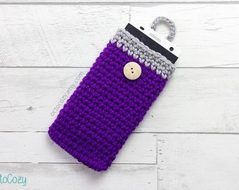 Mobile Phone Case, iPhone Cover, Handmade Crochet Aubergine Purple and Light Grey Phone Cover/Pouch