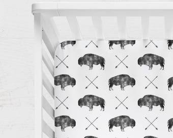 WOODLAND CRIB BEDDING. Woodland Baby Sheet. woodland Baby Blanket. woodland nursery. buffalo Crib Sheet. buffalo crib bedding.