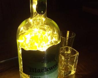 Blackwood's Gin Bottle Light. Upcycled Bottle Lamp. Perfect Mood Lighting Gift For Women & Boyfriend Gift For Men. Upcycled Lighting