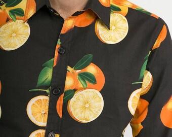 Mens 100% Cotton Long Sleeve Slim Fit Shirt Oranges Fruit on Black Print