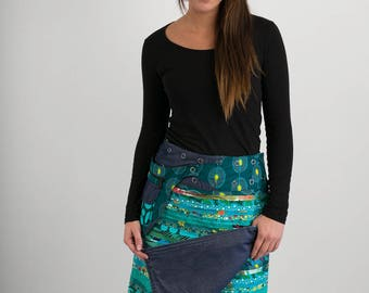 Reversible Cotton Skirt Green Patch Denim Detachable Pocket Long Length