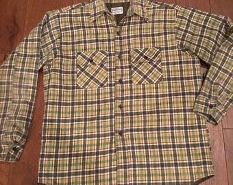 Five Brother Quilted Insulated Plaid Flannel Button Up Work Shirt Men's Large