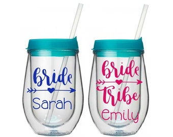 Bride Tribe Bev2Go Stemless Wine Tumbler, Bridal Party Gift, Bride Wine Tumbler, Bachelorette Party Gift, Bridesmaid Cup, Bride Gift