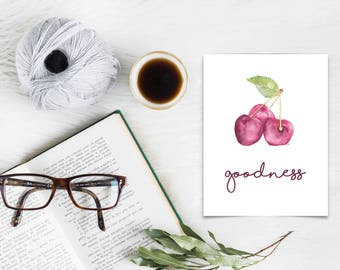 Goodness - Fruit of The Spirit - Single Print - Scripture Wall Art -Christian Gifts- Home Decor - Watercolor Cherries-Inspirational Wall Art