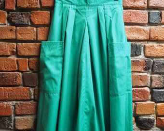 Women's 80s Mint Green A Line Midi Skirt With Side Pockets Size Small