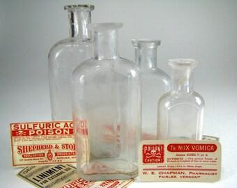 4 ca1890 Antique Medicine Bottles, Dug in Dillon, Montana, Drugstore, drug store, size set, 1, 2, 3 & 4 oz, Apothecary, Old, Vintage