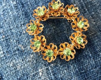 Vintage Gold Tone Brooch with Green Rhinestones