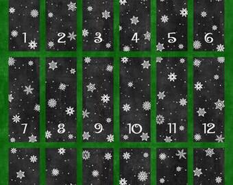 advent calendar panel, christmas countdown, reusable advent calendar,  reindeer fabric, father Christmas, quilting panel, festive calendar