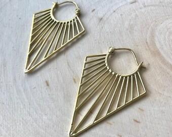 Tribal brass Earrings , Geometric earrings, Tribal earrings, Gypsy, Boho, Bohemian style