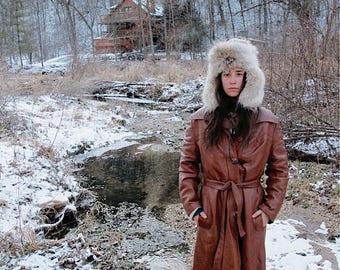 70s Caramel Leather Coat, Vintage Brown Lined Jacket