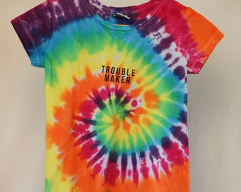 Size 10  - Trouble Maker - Ready To Ship - Girls - Children - Kids - Iced Tie Dyed T-shirt - 100% Cotton - FREE SHIPPING within Aus