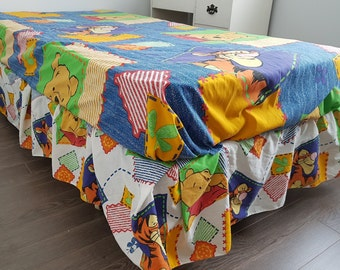 """Vintage Winnie The Pooh And Tigger Flat Sheet and Bed Skirt Twin Bed Size 70"""" x 90"""" Blanket Childhood Cartoon Children Kids Bedding 90s"""