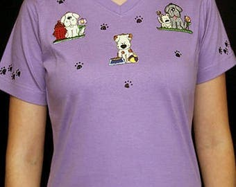 Dog Unique Custom Women's Cute Fun Glitter Cool Embroidery  Bling  V-neck T shirt Cindy's Handmade Shirts Boutique