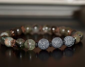 Phantom Quartz and Lava Stone Bracelet~ Aromatherapy and Energy Bracelet~ Holistic Jewelry~ Men's Bracelets