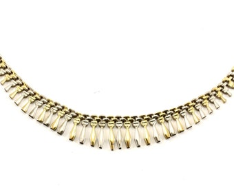Vintage Two Tone Gradation Bar Design Necklace 925 Sterling Silver NC 119-E
