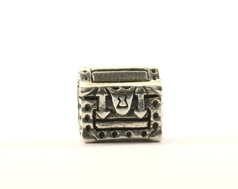 Vintage Treasure Chest Bead Charm Sterling 925 CH 219