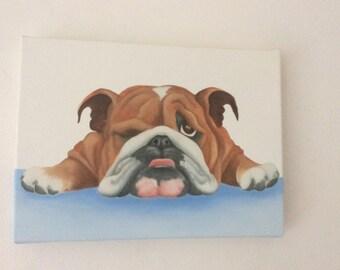 """british bulldog painting """"Basil"""""""