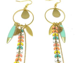 """Chain gold metal Spike """"multicolor/gold"""" glazed """"chic and trendy"""" earrings"""