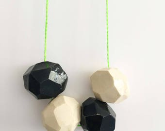 Lime Green Faceted Bauble Necklace