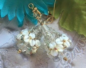 Creamy White Flower/Floral Earrings, Lampwork Earrings, SRA Lampwork Earrings,, SRA Lampwork Jewelry, Gift For Her