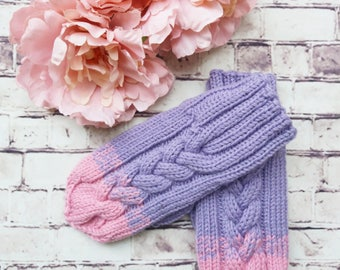 Two colours knitting, Nice and warm winter gloves for kids