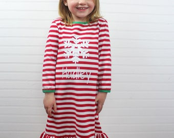 Personalized Christmas PJs, Kids Christmas Nightgown, Childrens Christmas Pajamas, Christmas PJs, Kids Christmas Pajamas, Holiday Nightgown