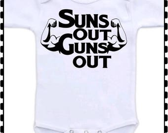 Suns Out Guns Out, Workout, Weightlifting, Muscle, Muscles, Baby Boy, Onesie - Choice of Colors in Onesie and Lettering