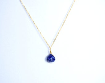 sapphire necklace,blue color necklace,gemstone necklace,tiny pendant necklace,tiny drop necklace,September birthstone necklace,women gift
