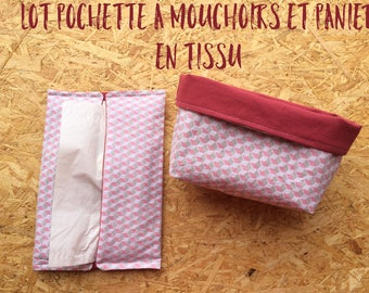 Pocket tissue + fabric - Fabric pouch for tissues basket + little basketball
