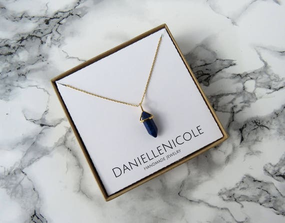Dainty Lapis Pointed Pendant Necklace, Dainty Lapis Necklace, Pendant Necklace, Lapis Lazuli Necklace, Dainty Jewelry, Statement Jewelry
