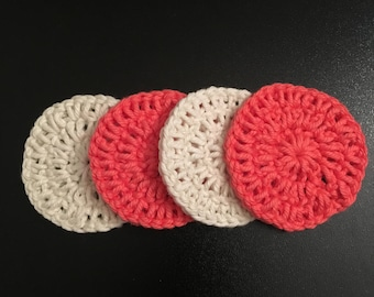 Face scrubbies - pink/off white