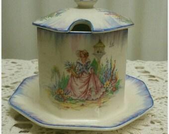 Vintage Conserves Pot Elegant 1930s  China Jam Pot H & K Tunstall Vintage English China Tableware