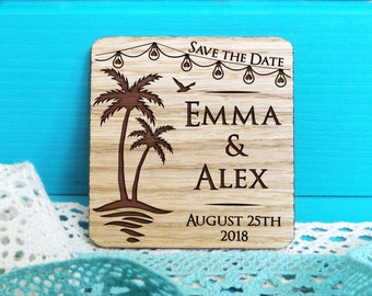 Wood Save The Date Magnet Beach Wooden