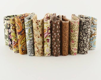 12pcs/lot Royal brown theme 100% cotton fabric strips quilting jelly roll