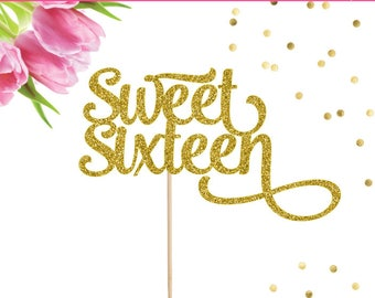 Sweet Sixteen Cake Topper, Sweet 16 Cake Topper, Sweet 16 Decor, 16 Cake Topper, 16th Birthday Party, Sweet 16 Party Decor, Happy Sweet 16