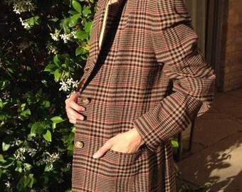 Perfect Oversized Vintage Plaid Blazer- Browns, Reds, Beiges & Black- Sz S/M