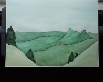 In The Mountains - Pacific Northwest Watercolor Painting