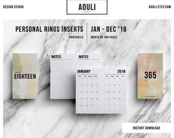 A6 Rings Insert | 2018 monthly Calendar | Month on Two Pages | Filofax A6 Pages | Printable Insert | MO2P | Filofax Inserts