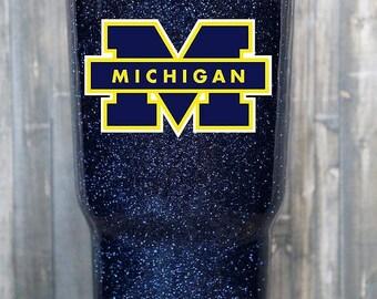 University of Michigan Glitter Yeti, Michigan Glitter Tumbler, Michigan Yeti, Michigan Gift, Michigan Tumbler, Ozark. Glitter Yeti Cup, mug