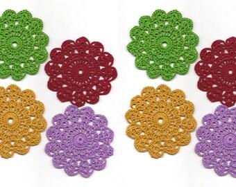 Set Of 8 Crocheted Doilies Crochet Medallions Assortment Mini Doily Boho Crafts Flower Dream Catcher Decorative Tea Time Coaster Home Decor