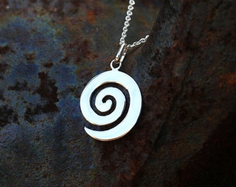 Spiral Necklace, Spiral Pendant, Swirl Necklace, Swirl Pendant, Spiral Jewelry, Silver Jewellery, Silver Pendant Only