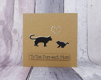Happy Mother's Day card: handmade cat and kitten card for Mum / Mom - Mother's Day cat card -  Mothering Sunday card - Mum and Daughter card