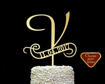 Letter v cake topper, cake toppers for wedding, letter wedding cake topper, initial cake topper, cake topper v, Cake topper date, CT#212