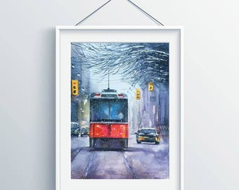 Original watercolor painting, Landscape painting,watercolor landscape, street car in snow,handmade, street landscape,wall art