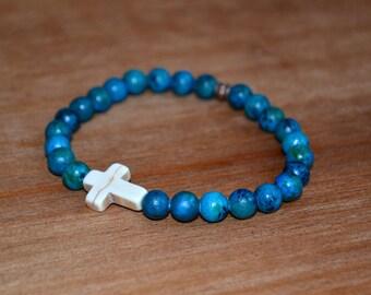 Stone Cross Aqua Beaded Bracelet