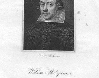 William Shakespeare Antique Engraving c.1822