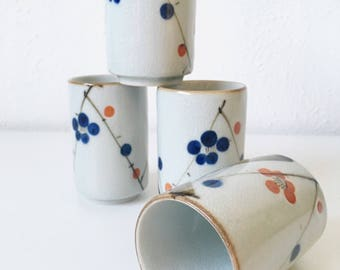 Vintage Stoneware Tall Tea Cups + Set of 4 + Japanese Style Hand Painted Floral Motif with Crackle Glazing + Blue Orange Brown Flowers
