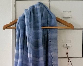 Exclusive Cotton Gauze Shibori Scraf, Indigo & Lavender, 80cm x 192cm, Handmade
